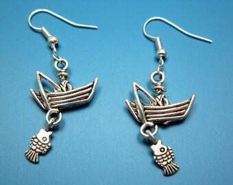 Gone Fishing Earrings - fisherman funky jewelry quirky earrings funny earrings nerdy humor fish cute fun earrings punkrock funky earrings