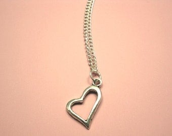 Heart Necklace - stainless steel chain cute necklace simple heart necklace romance jewellery love heart necklace open heart hollow heart