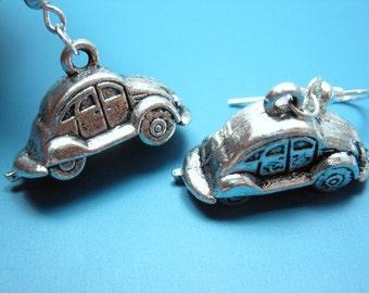 Beetle Car Earrings - retro jewelry geekery jewelry rockabilly earrings geek geeky earrings funny earrings quirky earrings funky earrings
