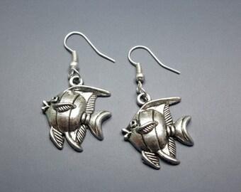Fish Earrings - animal jewellery sea creature pet funny earrings quirky cute earrings chic jewelry punk fun rockabilly earrings silver plate