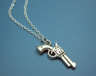 Pistol Gun Necklace - stainless steel chain quirky necklace geeky rockabilly kinky gothic emo punk zombie vampire hunter cute funky necklace