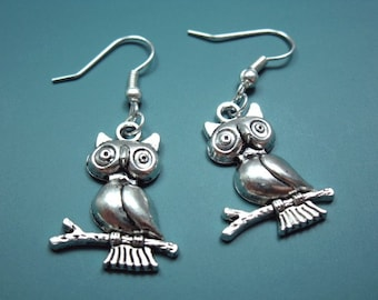 Owl Earrings - woodland animal earrings bird on branch earrings forest animal fun earrings chic jewellery harry potter inspire cute earrings