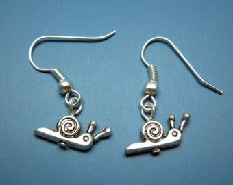 Tiny Snail Earrings - cute earrings miniature earrings itty bitty insect fun quirky jewelry minimal jewellery kawaii earrings silver plated