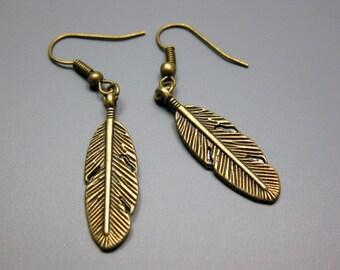 Bronze Feather Earrings - retro earrings simple earrings vintage style fallen leaf earrings kitsch jewellery country chic szeya designs