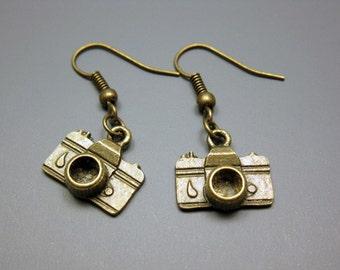 Bronze Camera Earrings - geeky earrings quirky earrings funny earrings photographer nerd old school cute earrings geek jewelry funky chic