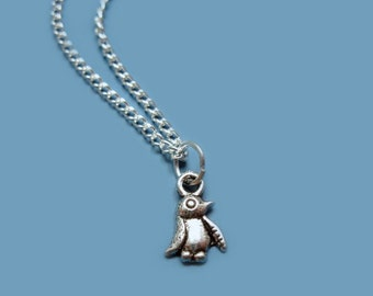 Tiniest Penguin Necklace - teeny tiny necklace miniature jewelry super cute necklace animal necklace kawaii bird necklace minimal jewellery