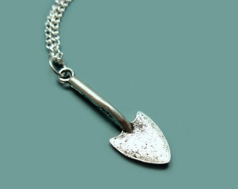 Shovel Necklace - stainless steel chain creepy scary horror freaky corpse cemetery grave novelty jewellery cute necklace funky necklace