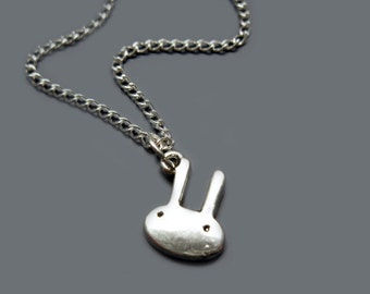 Mini Bunny Necklace - stainless steel chain rabbit necklace teeny tiny cute necklace animal minimal jewelry kawaii necklace kitsch necklace