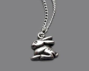 Bunny Necklace - stainless steel chain rabbit necklace woodland animal necklace cute necklace kawaii necklace fun jewelry szeya designs
