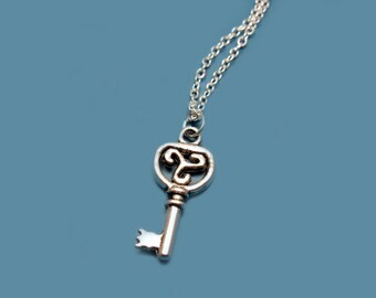 Small Key Necklace - stainless steel chain mini key necklace cute necklace alice in wonderland inspired tiny key necklace minimal jewelry
