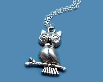 Owl Necklace - stainless steel chain woodland animal necklace cute necklace bird on branch necklace bird necklace forest fun jewelry szeya