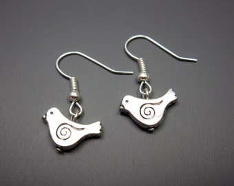 Little Bird Earrings - tiny bird earrings cute earrings simple earrings animal earrings silver plated small bird earrings chic jewelry