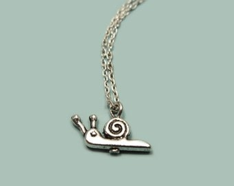 Tiny Snail Necklace - stainless steel chain tiny necklace mini necklace cute necklace insect necklace minimal necklace kawaii necklace chic