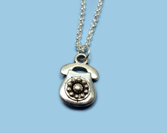 Retro Telephone Necklace - stainless steel chain old school phone necklace geek necklace chic funny jewelry cute necklace quirky funky nerd