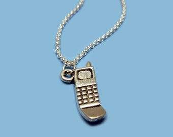Cell Phone Necklace - stainless steel chain old school geeky funny geek jewelry gadget mobile quirky necklace funky necklace cute jewelry