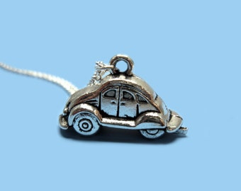 Beetle Car Necklace - stainless steel chain old school geek necklace nerd necklace quirky necklace fun jewelry cute necklace funny necklace
