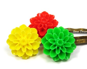 Citrus Flower Bobby Pins - flower hair clip trio cute bobby pin floral blossom bobby pin chamomile hair clip red yellow green szeya designs