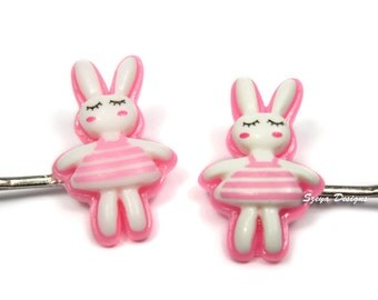 Bunny Bobby Pins - rabbit bobby pin bunny hair clip set pink bobby pin cute hair clip pink barrette kawaii hair clip bff gift animal pin