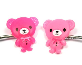 Teddy Bear Bobby Pins - candy bear cute bobby pin set hair clip pink bobby pin animal hair clip kawaii bobby pin friendship bbf cute pin