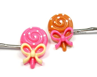 Lollipop Bobby Pins -  cute hair clips candy hair clip pink brown barrette food quirky kawaii bobby pin cute bobby pin lollipop hair clip