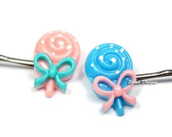 Lollipop Bobby Pins - lollipop hair clip cute bobby pin candy bobby pin food bobby pin kawaii bobby pin cute hair clip blue pink hair clip