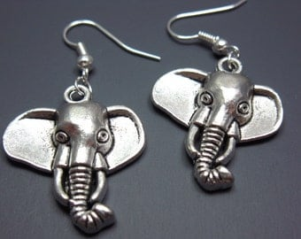 Elephant Earrings - animal earrings jungle zoo good luck symbol lucky charm circus show rockabilly funky earrings punk jewelry silver plated