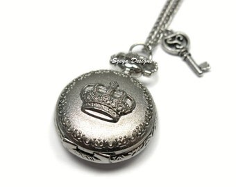 Silver Locket Watch Necklace - Key To The Royal victorian jewelry inspired vintage antique style small mini size pocket watch necklace