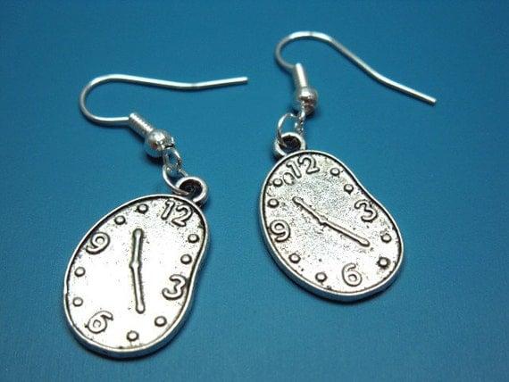 Clock Earrings - quirky jewlery funny earrings geek jewellery alice in wonderland inspired cute earrings funky punk earrings geeky surreal
