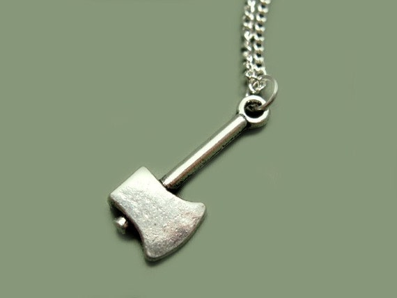 Axe Necklace - stainless steel chain zombie vampire hunter creepy cute necklace funky necklace funny necklace geek chic emo gothic jewelry