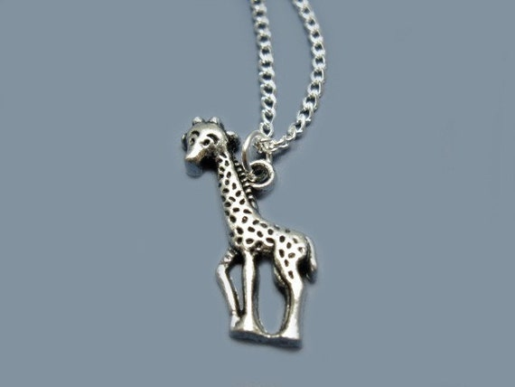 Giraffe Necklace - stainless steel chain animal necklace cute necklace zoo safari mini pendant fun rockabilly kitsch chic deer necklace