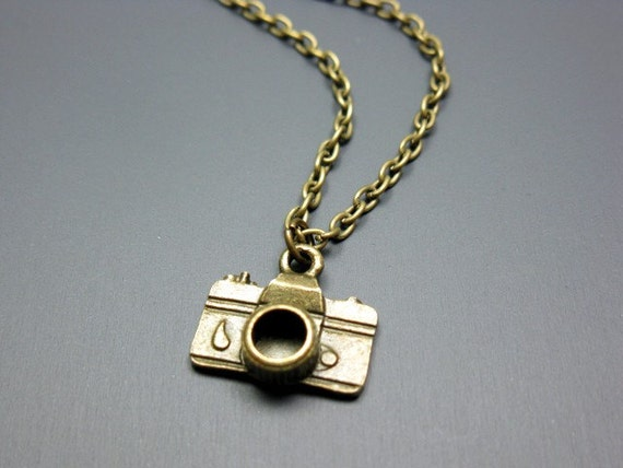 Bronze Camera Necklace - geeky necklace photographer geek jewellery nerd necklace quirky necklace rockabilly cute necklace emo punk necklace