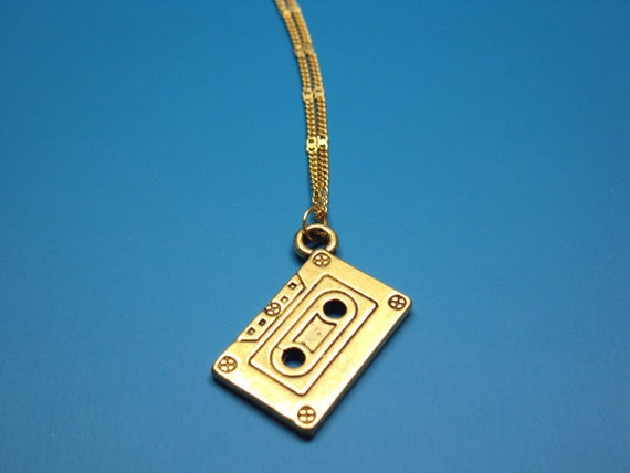 Cassette Necklace (Golden) - mix tape mixed tape old school 80s 90s geeky nerdy funky jewelry kitsch jewellery rockabilly by szeya designs