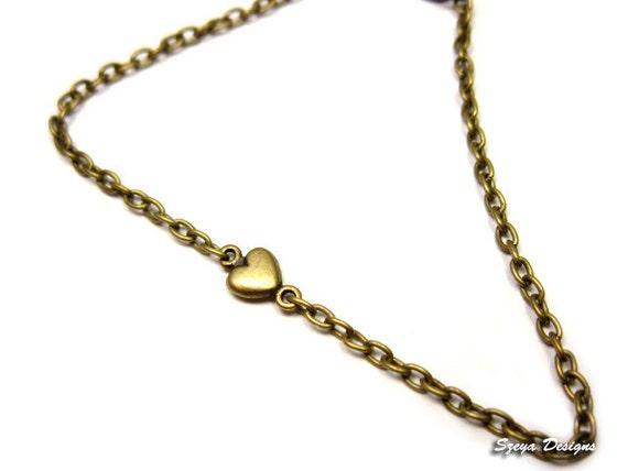 Teeny Tiny Heart Bracelet or Custom Anklet - itty bitty minimal jewelry cute bracelet mini small simple bracelet classic romantic kawaii
