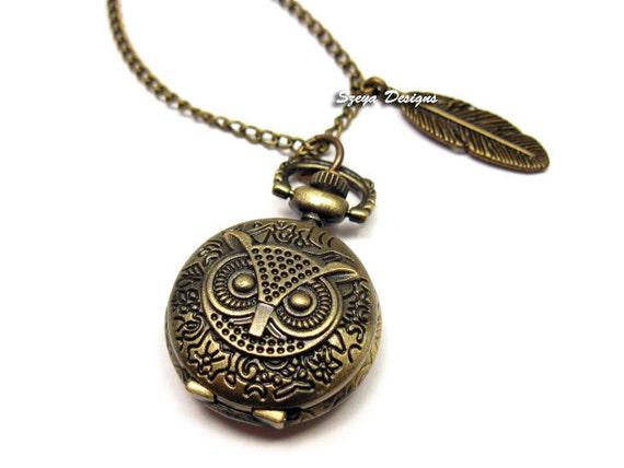 Owl Locket Watch Necklace - small size woodland animal jewelry retro vintage antique style clock long chain bronze feather szeya designs