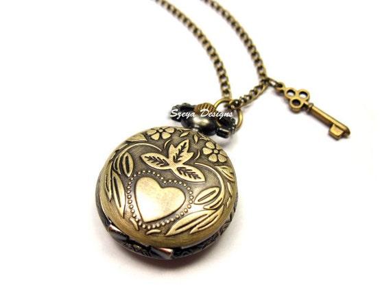 Secret Garden Pocket Watch Necklace - locket necklace retro jewelry romantic necklace key victorian vintage style necklace classic jewelry