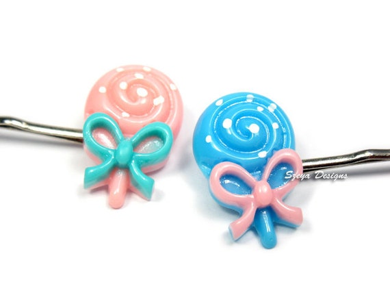 Lollipop Bobby Pins - lollipop hair clip cute bobby pin candy bobby pin food bobby pin kawaii bobby pin cute hair clip blue pink hair clip
