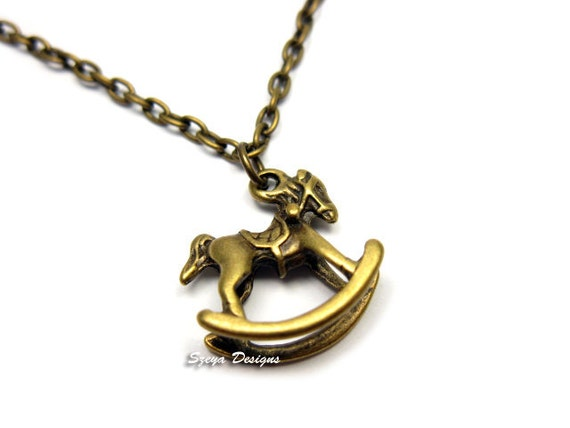 Rocking Horse Necklace - retro cute necklace jewelry chic necklace kawaii necklace childhood memories fun kitsch jewellery bronze chain