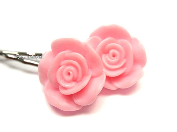 Pink Dolly Rose Bobby Pins - flower hair clip pink rose hair pin flower barrette cute bobby pin pink flower bobby pin kawaii hair clip 2 pcs