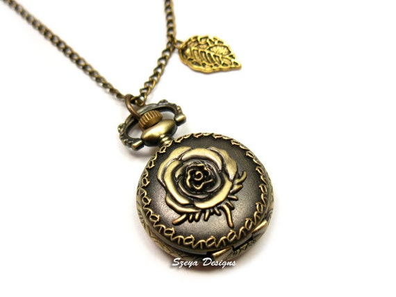 Rose Locket Watch Necklace - romantic victorian jewelry antique vintage inspired jewellery long chain bronze flower gold leaf szeya designs