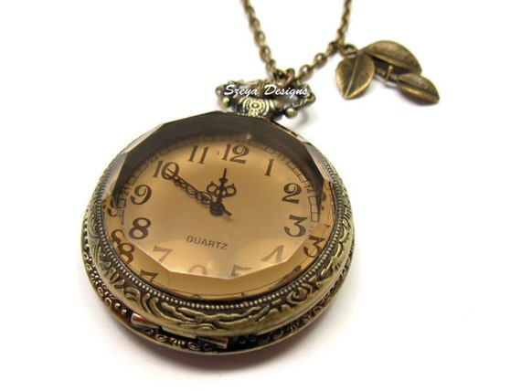 Amber Romance Pocket Watch Necklace - beautiful tea color classic big pendant with long bronze chain and small leaf charm by szeya designs