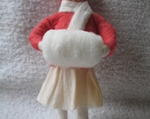 Spun Cotton Christmas Ornament.....Vintage Style.......Girl with Muff.....