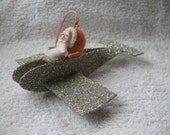 Spun Cotton Santa in a Glittered Airplane..........Vintage Style Glitter Ornament