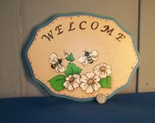 Hand-painted Welcome Plaque blue border