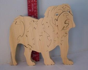 Wooden Bulldog Puzzle Poplar Hardwood