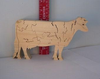 Cow Puzzle Poplar Hardwood Farm Animal