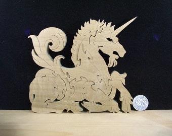 "Wooden ""Resting Unicorn"" Puzzle Poplar Hardwood"