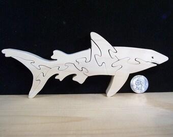 Wooden Shark Puzzle Poplar Hardwood