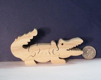 Wooden Alligator Puzzle Poplar Hardwood