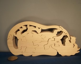 Baby Dragon Playing With Tail Wooden Puzzle