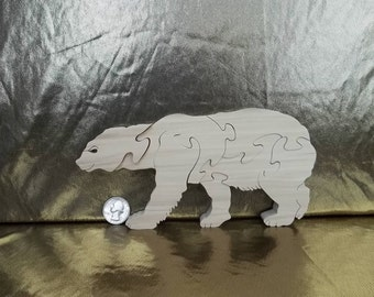 Wooden Polar Bear Puzzle Hardwood